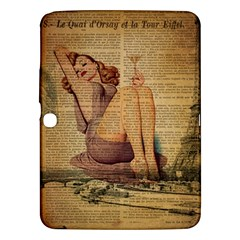 Vintage Newspaper Print Pin Up Girl Paris Eiffel Tower Samsung Galaxy Tab 3 (10 1 ) P5200 Hardshell Case  by chicelegantboutique