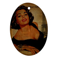 Vintage Newspaper Print Pin Up Girl Paris Eiffel Tower Oval Ornament by chicelegantboutique