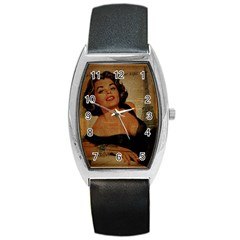 Vintage Newspaper Print Pin Up Girl Paris Eiffel Tower Tonneau Leather Watch by chicelegantboutique