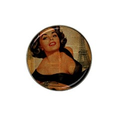 Vintage Newspaper Print Pin Up Girl Paris Eiffel Tower Golf Ball Marker 4 Pack (for Hat Clip) by chicelegantboutique