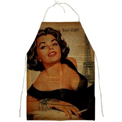 Vintage Newspaper Print Pin Up Girl Paris Eiffel Tower Apron