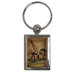 Vintage Newspaper Print Sexy Hot Pin Up Girl Paris Eiffel Tower Key Chain (rectangle) by chicelegantboutique