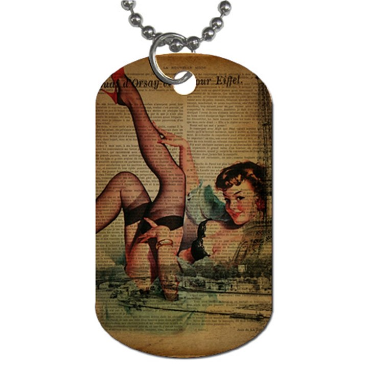 Vintage Newspaper Print Sexy Hot Pin Up Girl Paris Eiffel Tower Dog Tag (One Sided)