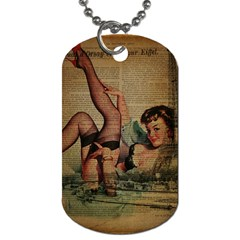 Vintage Newspaper Print Sexy Hot Pin Up Girl Paris Eiffel Tower Dog Tag (two Sided)  by chicelegantboutique
