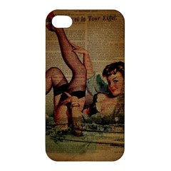 Vintage Newspaper Print Sexy Hot Pin Up Girl Paris Eiffel Tower Apple Iphone 4/4s Premium Hardshell Case