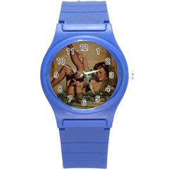 Vintage Newspaper Print Sexy Hot Pin Up Girl Paris Eiffel Tower Plastic Sport Watch (small) by chicelegantboutique