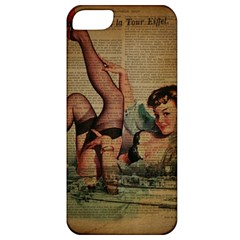 Vintage Newspaper Print Sexy Hot Pin Up Girl Paris Eiffel Tower Apple Iphone 5 Classic Hardshell Case by chicelegantboutique