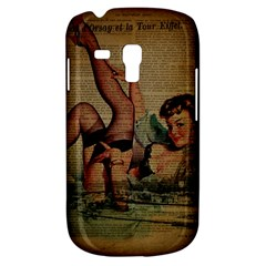Vintage Newspaper Print Sexy Hot Pin Up Girl Paris Eiffel Tower Samsung Galaxy S3 Mini I8190 Hardshell Case