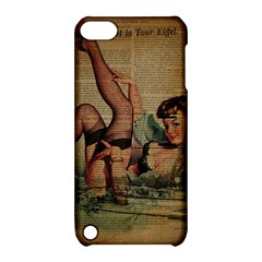 Vintage Newspaper Print Sexy Hot Pin Up Girl Paris Eiffel Tower Apple Ipod Touch 5 Hardshell Case With Stand by chicelegantboutique