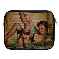 Vintage Newspaper Print Sexy Hot Pin Up Girl Paris Eiffel Tower Apple Ipad 2/3/4 Zipper Case by chicelegantboutique