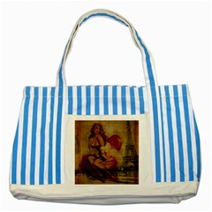 Vintage Newspaper Print Sexy Hot Gil Elvgren Pin Up Girl Paris Eiffel Tower Blue Striped Tote Bag by chicelegantboutique