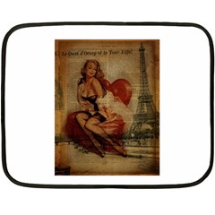 Vintage Newspaper Print Sexy Hot Gil Elvgren Pin Up Girl Paris Eiffel Tower Mini Fleece Blanket (two Sided) by chicelegantboutique