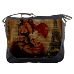 Vintage Newspaper Print Sexy Hot Gil Elvgren Pin Up Girl Paris Eiffel Tower Messenger Bag by chicelegantboutique