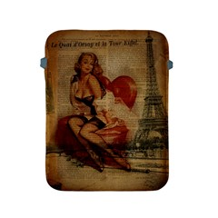 Vintage Newspaper Print Sexy Hot Gil Elvgren Pin Up Girl Paris Eiffel Tower Apple Ipad 2/3/4 Protective Soft Case by chicelegantboutique