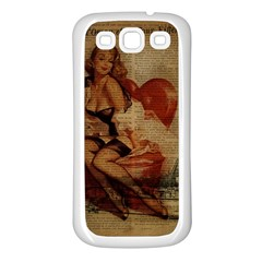 Vintage Newspaper Print Sexy Hot Gil Elvgren Pin Up Girl Paris Eiffel Tower Samsung Galaxy S3 Back Case (white) by chicelegantboutique
