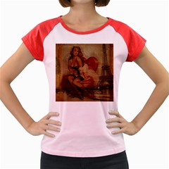 Vintage Newspaper Print Sexy Hot Gil Elvgren Pin Up Girl Paris Eiffel Tower Women s Cap Sleeve T Shirt (colored) by chicelegantboutique
