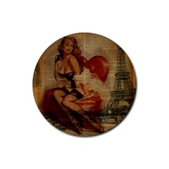 Vintage Newspaper Print Sexy Hot Gil Elvgren Pin Up Girl Paris Eiffel Tower Drink Coasters 4 Pack (round) by chicelegantboutique