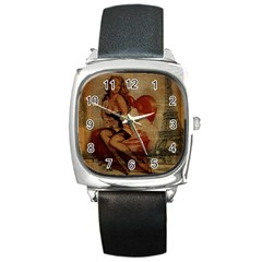 Vintage Newspaper Print Sexy Hot Gil Elvgren Pin Up Girl Paris Eiffel Tower Square Leather Watch by chicelegantboutique