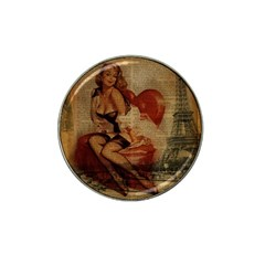 Vintage Newspaper Print Sexy Hot Gil Elvgren Pin Up Girl Paris Eiffel Tower Golf Ball Marker (for Hat Clip) by chicelegantboutique