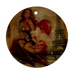Vintage Newspaper Print Sexy Hot Gil Elvgren Pin Up Girl Paris Eiffel Tower Round Ornament (two Sides) by chicelegantboutique