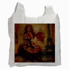 Vintage Newspaper Print Sexy Hot Gil Elvgren Pin Up Girl Paris Eiffel Tower Recycle Bag (one Side) by chicelegantboutique