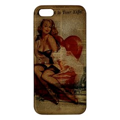 Vintage Newspaper Print Sexy Hot Gil Elvgren Pin Up Girl Paris Eiffel Tower Iphone 5 Premium Hardshell Case by chicelegantboutique