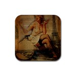 Vintage Newspaper Print Sexy Hot Gil Elvgren Pin Up Girl Paris Eiffel Tower Drink Coaster (Square) Front