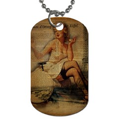 Vintage Newspaper Print Sexy Hot Gil Elvgren Pin Up Girl Paris Eiffel Tower Dog Tag (one Sided) by chicelegantboutique
