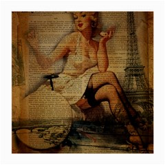 Vintage Newspaper Print Sexy Hot Gil Elvgren Pin Up Girl Paris Eiffel Tower Glasses Cloth (medium, Two Sided) by chicelegantboutique