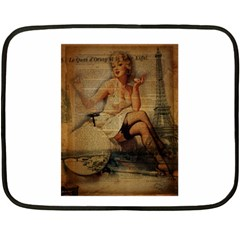 Vintage Newspaper Print Sexy Hot Gil Elvgren Pin Up Girl Paris Eiffel Tower Mini Fleece Blanket (two Sided)