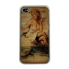 Vintage Newspaper Print Sexy Hot Gil Elvgren Pin Up Girl Paris Eiffel Tower Apple Iphone 4 Case (clear) by chicelegantboutique