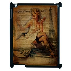Vintage Newspaper Print Sexy Hot Gil Elvgren Pin Up Girl Paris Eiffel Tower Apple Ipad 2 Case (black) by chicelegantboutique