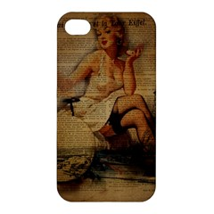 Vintage Newspaper Print Sexy Hot Gil Elvgren Pin Up Girl Paris Eiffel Tower Apple Iphone 4/4s Hardshell Case by chicelegantboutique
