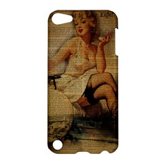 Vintage Newspaper Print Sexy Hot Gil Elvgren Pin Up Girl Paris Eiffel Tower Apple Ipod Touch 5 Hardshell Case by chicelegantboutique