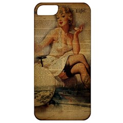 Vintage Newspaper Print Sexy Hot Gil Elvgren Pin Up Girl Paris Eiffel Tower Apple Iphone 5 Classic Hardshell Case by chicelegantboutique