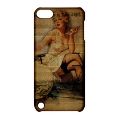 Vintage Newspaper Print Sexy Hot Gil Elvgren Pin Up Girl Paris Eiffel Tower Apple Ipod Touch 5 Hardshell Case With Stand by chicelegantboutique