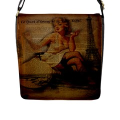 Vintage Newspaper Print Sexy Hot Gil Elvgren Pin Up Girl Paris Eiffel Tower Flap Closure Messenger Bag (large) by chicelegantboutique