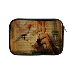 Vintage Newspaper Print Sexy Hot Gil Elvgren Pin Up Girl Paris Eiffel Tower Apple Ipad Mini Zipper Case by chicelegantboutique