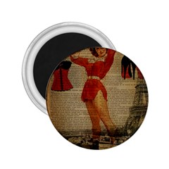 Vintage Newspaper Print Sexy Hot Gil Elvgren Pin Up Girl Paris Eiffel Tower Western Country Naughty  2 25  Button Magnet by chicelegantboutique