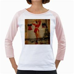Vintage Newspaper Print Sexy Hot Gil Elvgren Pin Up Girl Paris Eiffel Tower Western Country Naughty  Womens  Long Sleeve Raglan T Shirt (white)