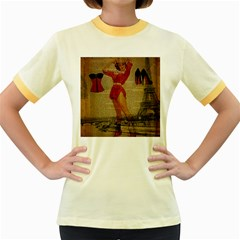 Vintage Newspaper Print Sexy Hot Gil Elvgren Pin Up Girl Paris Eiffel Tower Western Country Naughty  Womens  Ringer T Shirt (colored)