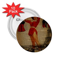 Vintage Newspaper Print Sexy Hot Gil Elvgren Pin Up Girl Paris Eiffel Tower Western Country Naughty  2 25  Button (10 Pack) by chicelegantboutique
