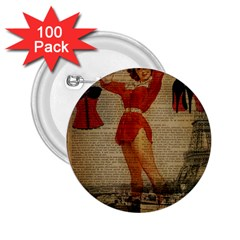Vintage Newspaper Print Sexy Hot Gil Elvgren Pin Up Girl Paris Eiffel Tower Western Country Naughty  2 25  Button (100 Pack) by chicelegantboutique