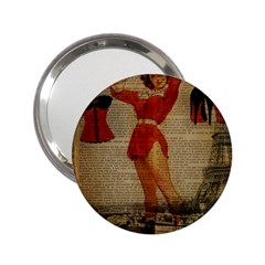 Vintage Newspaper Print Sexy Hot Gil Elvgren Pin Up Girl Paris Eiffel Tower Western Country Naughty  Handbag Mirror (2 25 ) by chicelegantboutique