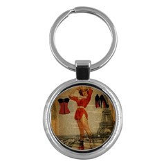 Vintage Newspaper Print Sexy Hot Gil Elvgren Pin Up Girl Paris Eiffel Tower Western Country Naughty  Key Chain (round) by chicelegantboutique
