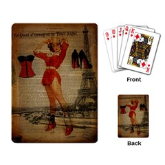 Vintage Newspaper Print Sexy Hot Gil Elvgren Pin Up Girl Paris Eiffel Tower Western Country Naughty  Playing Cards Single Design by chicelegantboutique