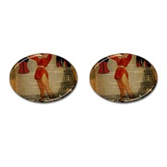 Vintage Newspaper Print Sexy Hot Gil Elvgren Pin Up Girl Paris Eiffel Tower Western Country Naughty  Cufflinks (oval) by chicelegantboutique