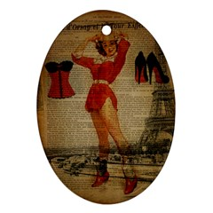 Vintage Newspaper Print Sexy Hot Gil Elvgren Pin Up Girl Paris Eiffel Tower Western Country Naughty  Oval Ornament (two Sides) by chicelegantboutique