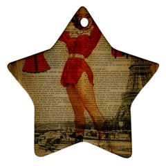 Vintage Newspaper Print Sexy Hot Gil Elvgren Pin Up Girl Paris Eiffel Tower Western Country Naughty  Star Ornament (two Sides) by chicelegantboutique