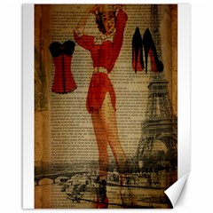 Vintage Newspaper Print Sexy Hot Gil Elvgren Pin Up Girl Paris Eiffel Tower Western Country Naughty  Canvas 16  X 20  (unframed)